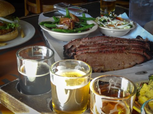 more beer, brisket, green beans, and cole slaw