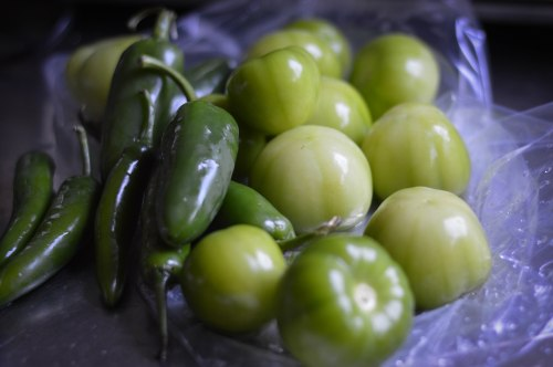 serranos, jalapeños, and tomatillos